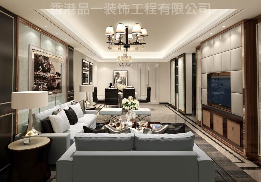 25栋03港式三室一厅一卫装修案例效果图 100平米设计