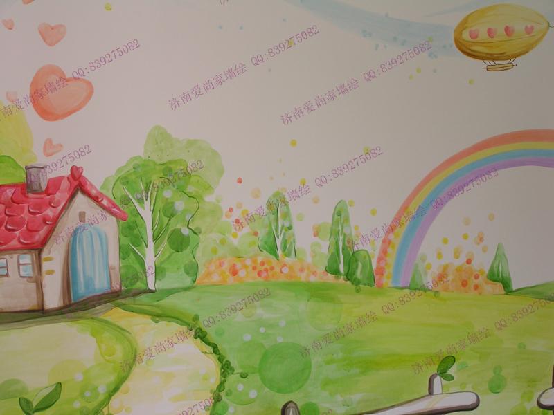 领秀城家装儿童房墙绘手绘墙
