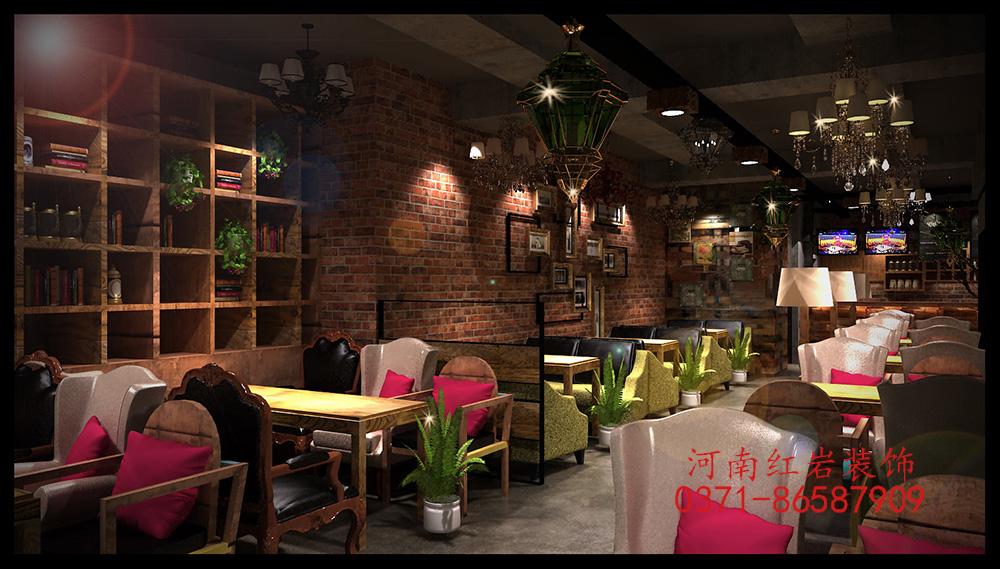 郑州咖啡厅现代复古风格装修效果图_装修案例图_郑州