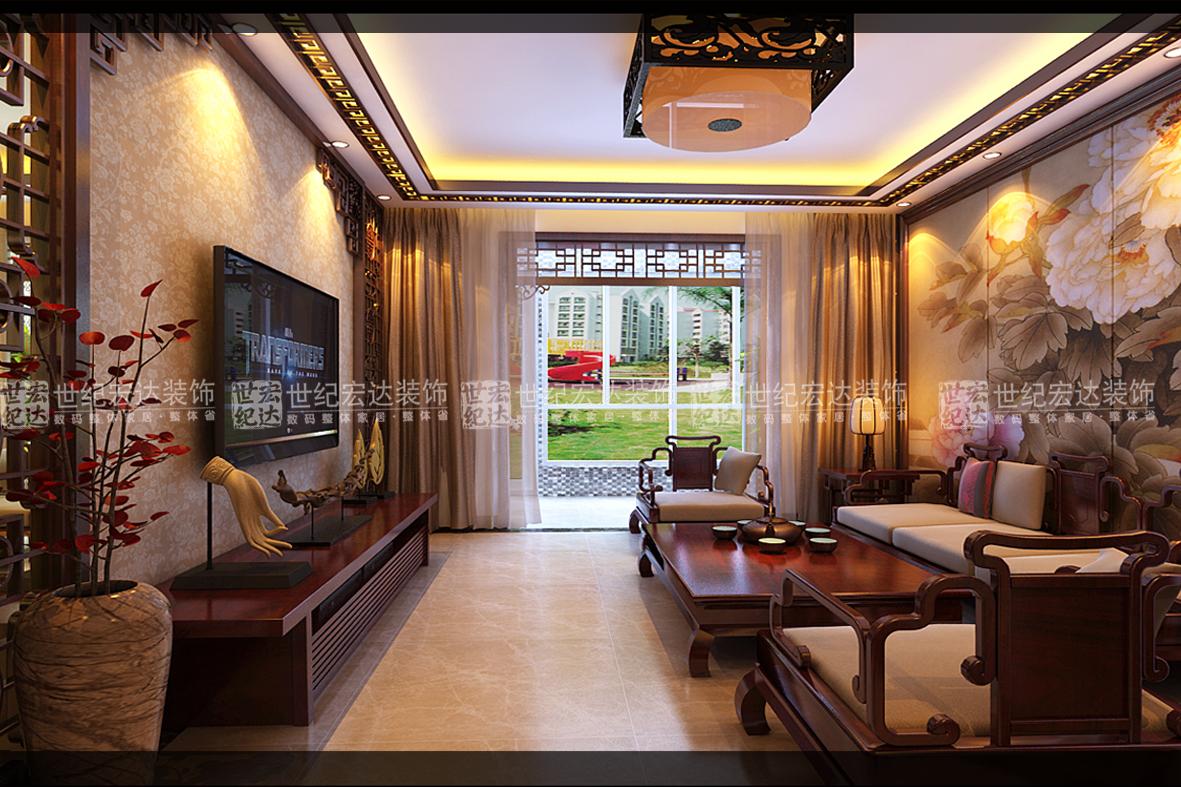 新中式阳台瓷砖效果图