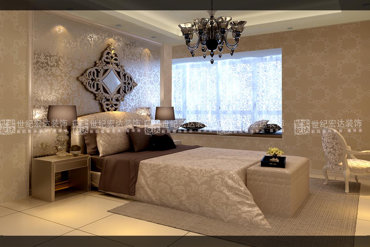 与暖色暗花欧式墙纸及可以赋予其时代感的银镜,不锈钢等高反光材质和