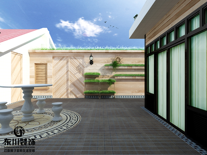 福州兴园花园复式楼顶层花园设计