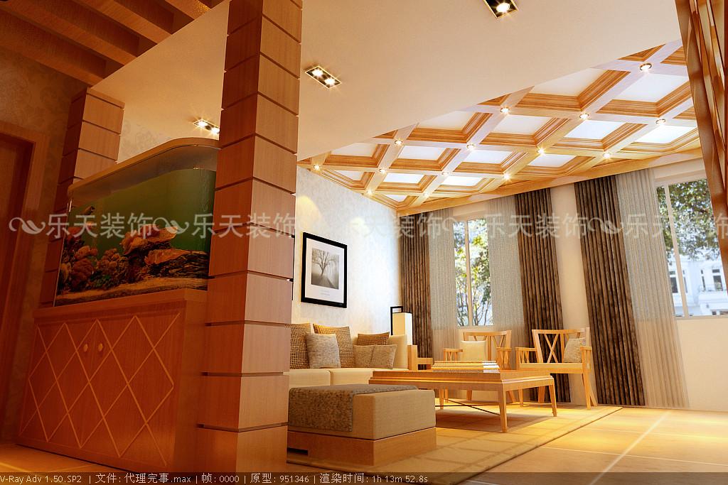 棚顶采用细木工板制作欧式中式结合造型