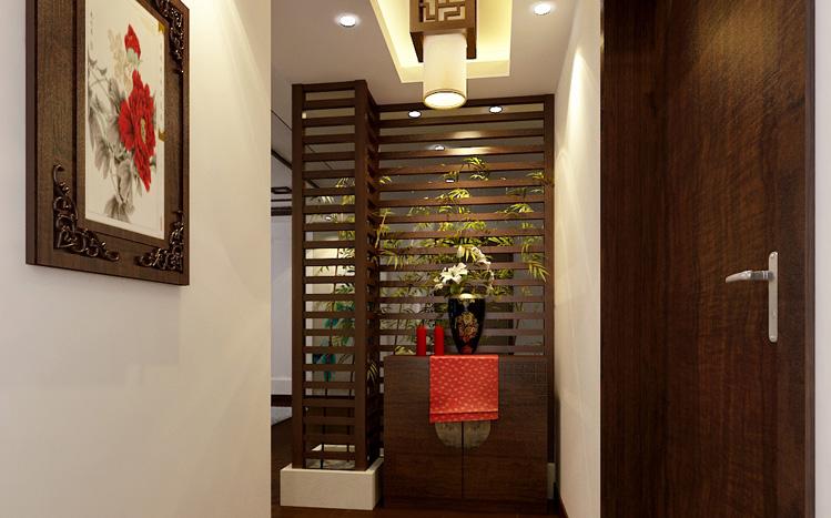 亮点:木线条装饰,中式的座椅与浅色的沙发明显对比