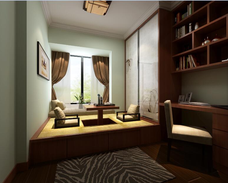 中泰国际黄色新中式书房效果图图片