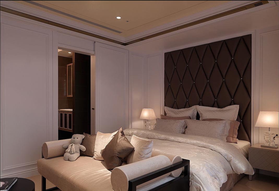 保利香槟国际白色简欧卧室效果图