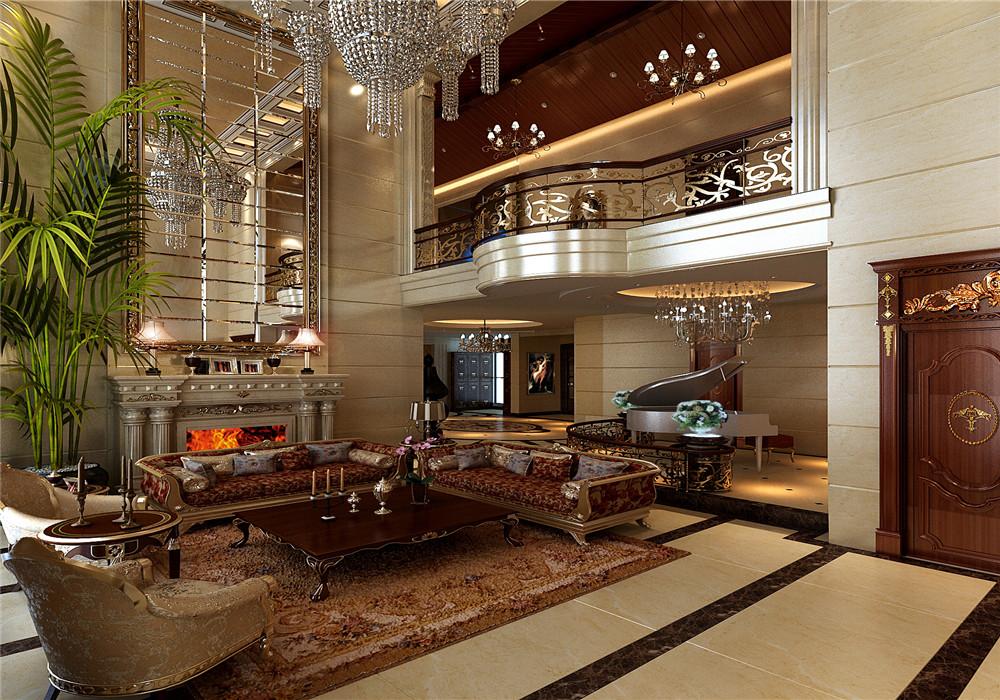 星河时代米色欧式古典客厅效果图