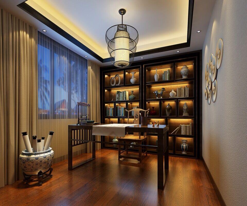 中惠松湖城-新中式-书房图片
