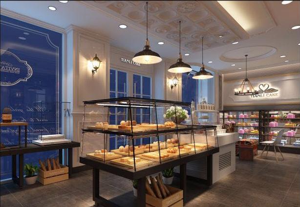 天力蛋糕店店面內部效果圖在對整體布局進行合理劃分的基礎