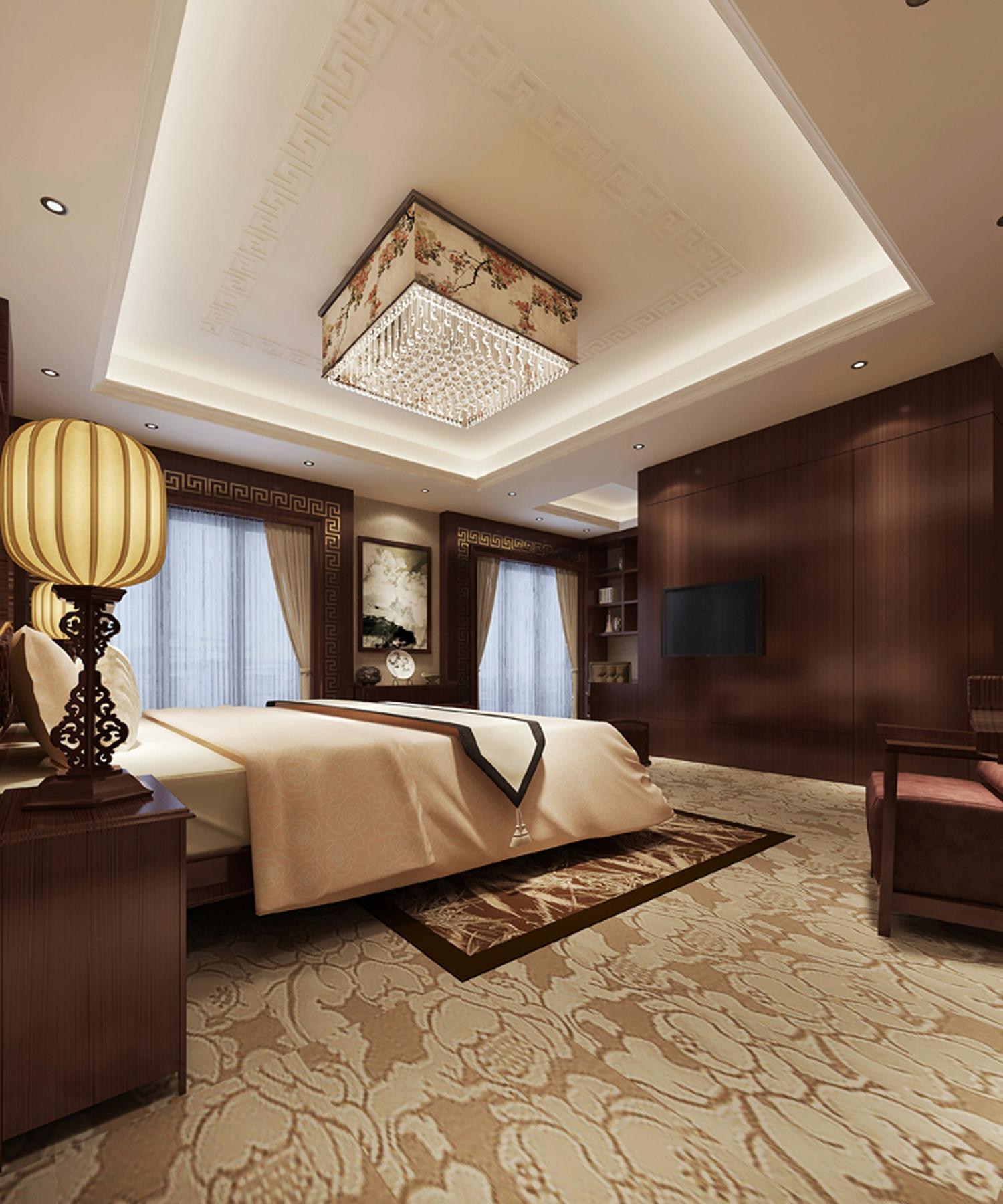 西山别墅米色新中式卧室设计
