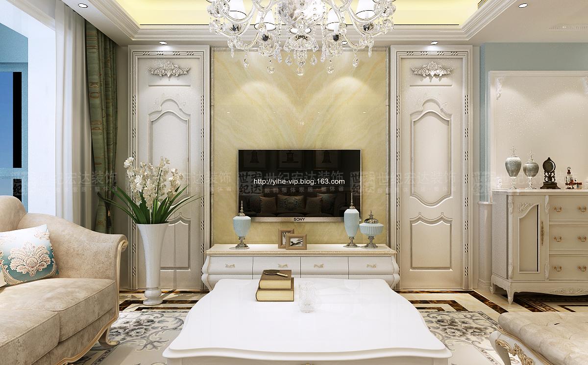 中铁汇苑140平法式客厅装修效果图图片