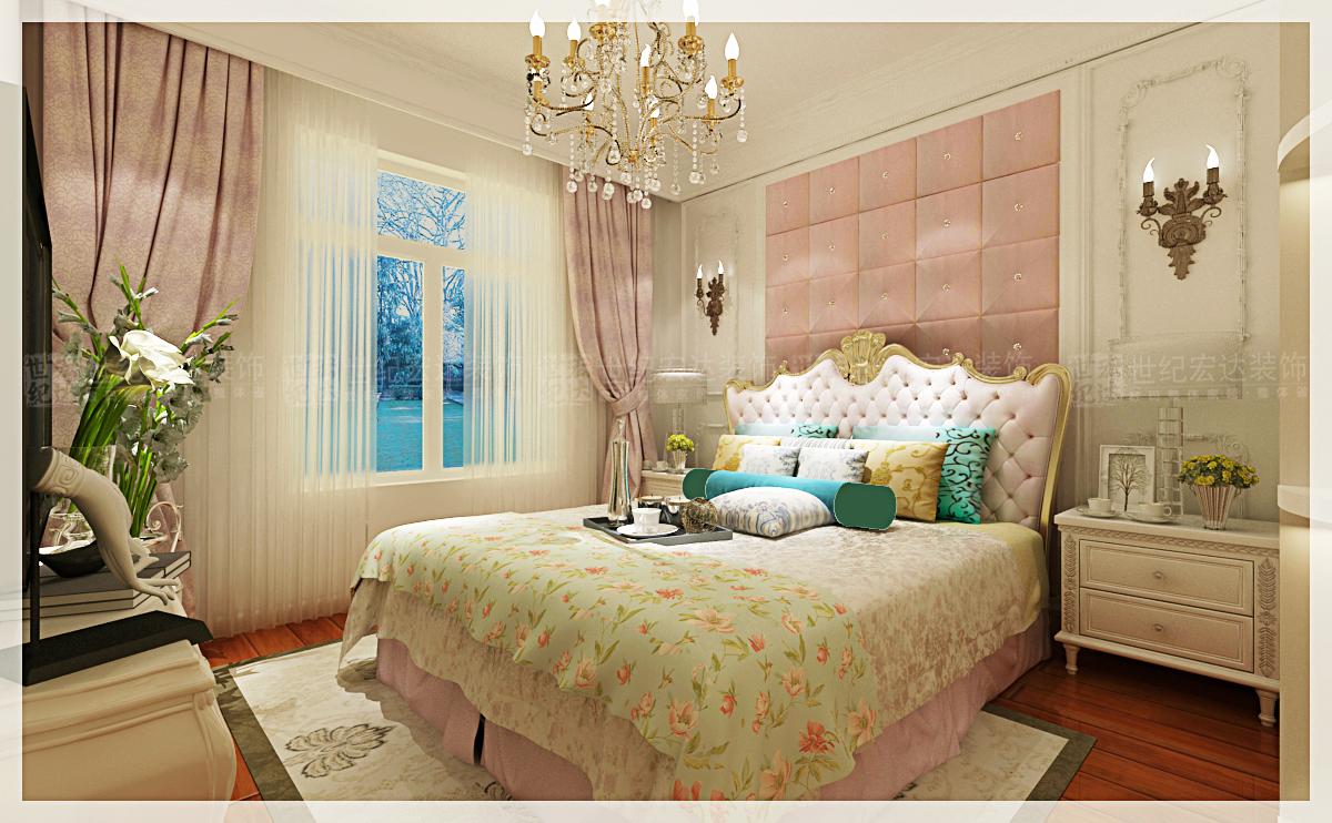 中铁汇苑140平法式卧室装修效果图
