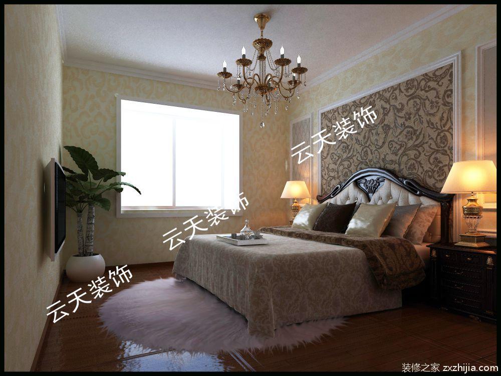 卧室整体运用欧式壁纸装饰,床头背景实木线条装饰更有层次