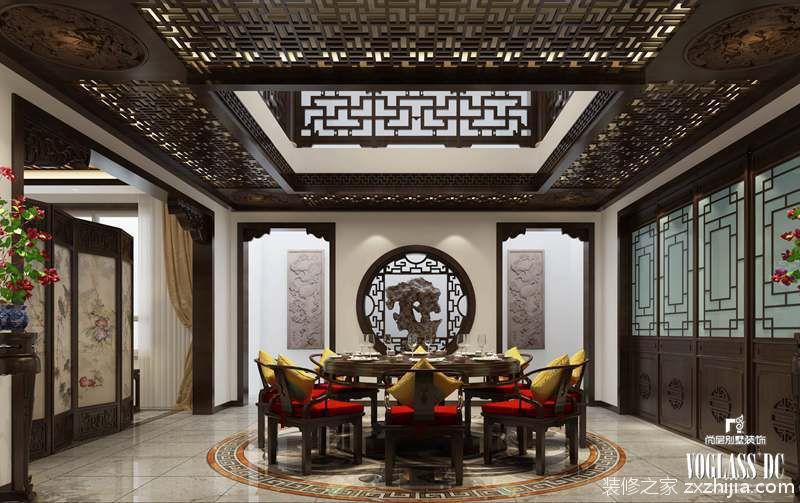 北京院子 新中式 餐厅                    中式雕花顶面的