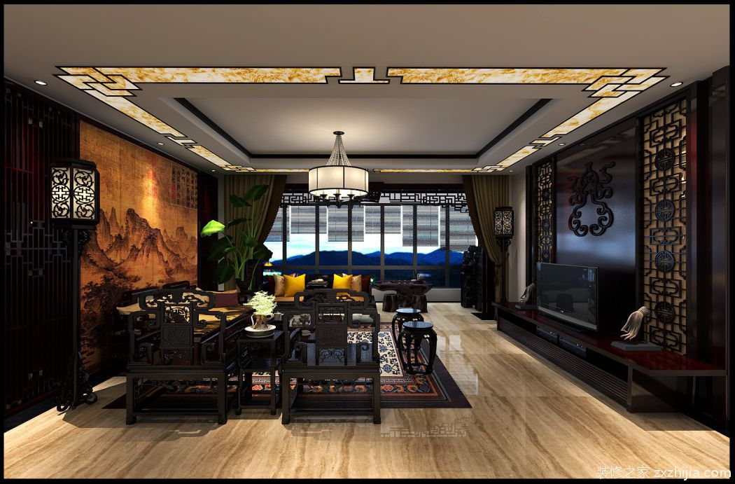 和平里新中式客厅效果图