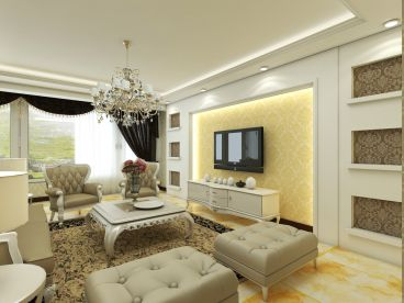 顶盛国际简欧风格三居室装潢