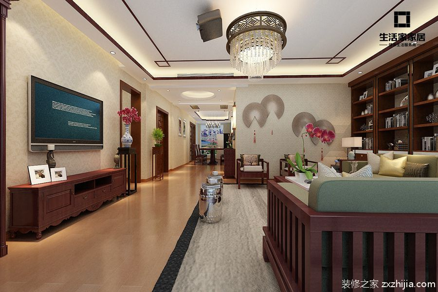 海尔绿城锦兰园新中式客厅效果图