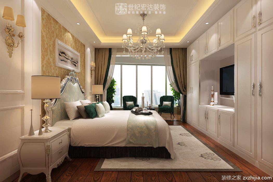 精美案例 > 汇科旺园300平方欧式风格装修             二楼主卧整墙