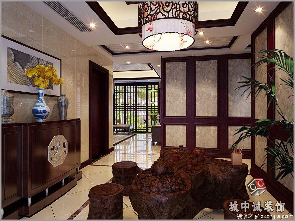 长江国际花园新中式廊道效果图