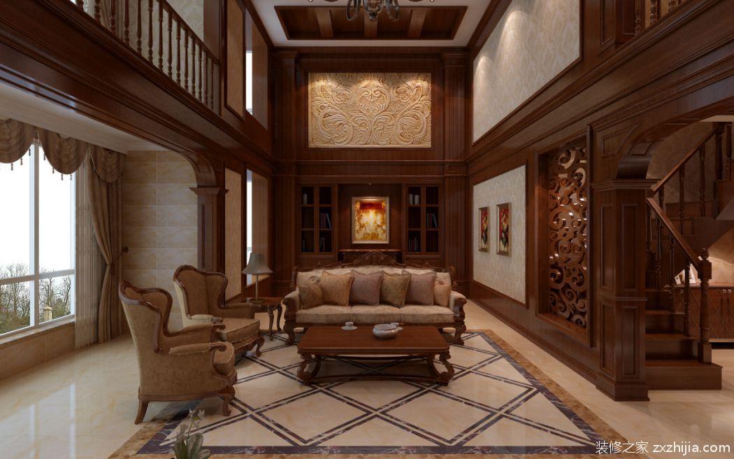 中海紫玉东郡新中式风格咖啡色装修