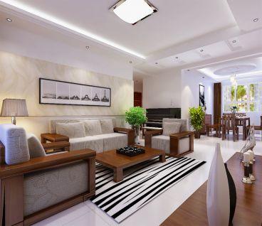 瀚唐新中式风格半包两居室91平装修
