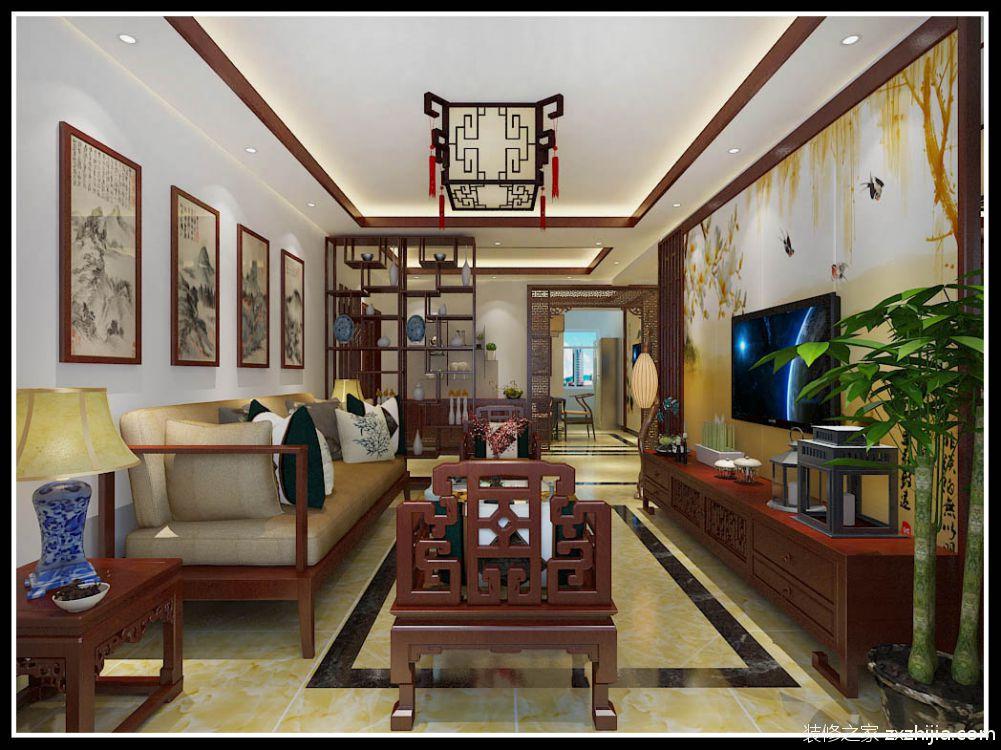 翰林观天下新中式客厅效果图
