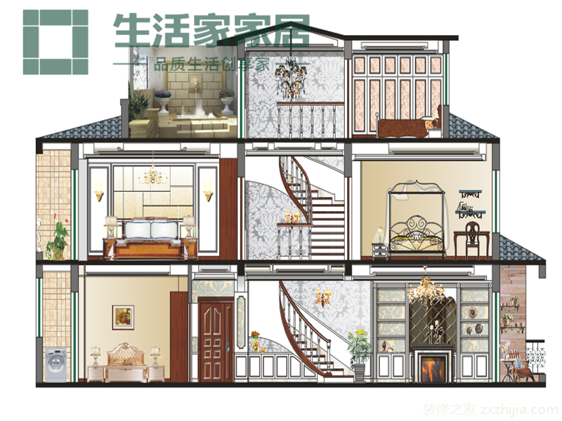 中华园别墅欧式风格装修效果图