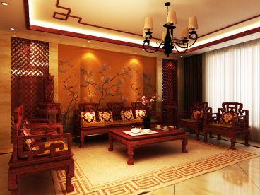 大成门120平三室一厅新中式装修效果图
