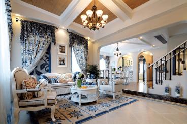 天籁花园地中海风格全包三居室装修案例