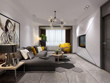 香溢紫郡简约风格140平三居室装修案例