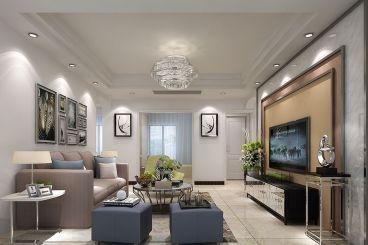 华强城简约风格130平三居室装修效果图