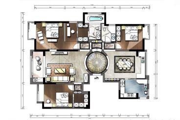 豪景华庭简约风格180平三居室装修案例