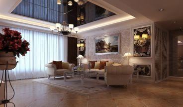 保利叶公馆132平三室二厅美式装修效果图