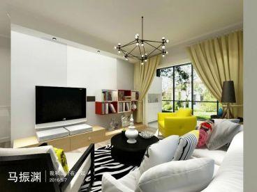 怡园水景92平二室二厅现代简约装修效果图
