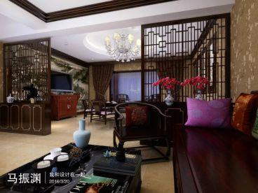 阳光家园130平三室二厅新中式装修效果图
