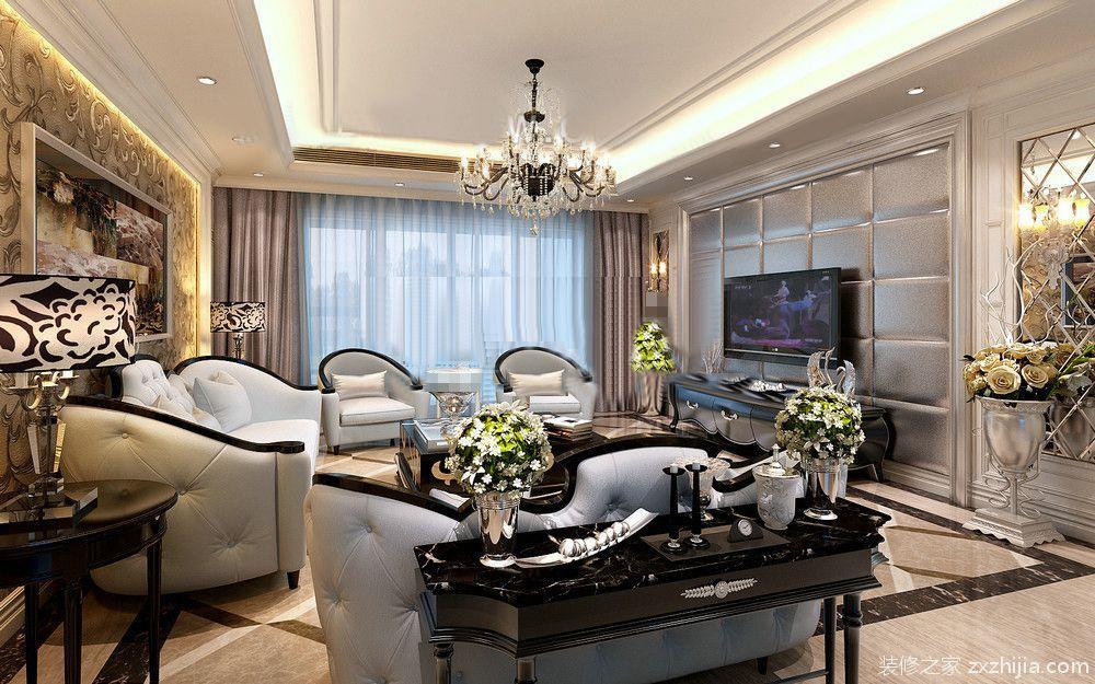 香榭丽苑130平三室二厅简欧装修效果图