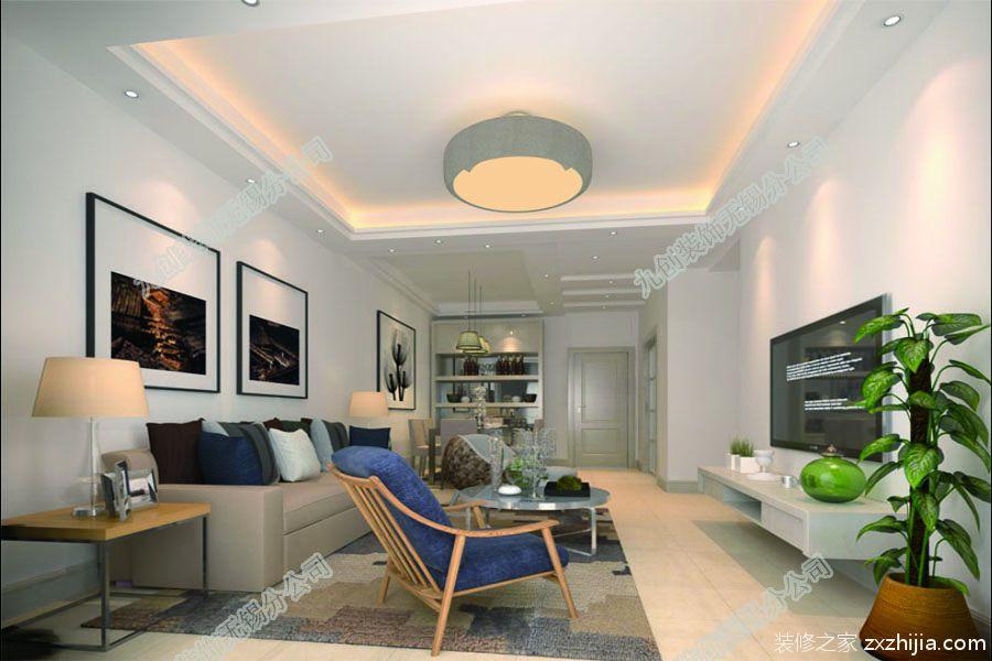 琥珀澜湾87平二室二厅现代简约装修效果图