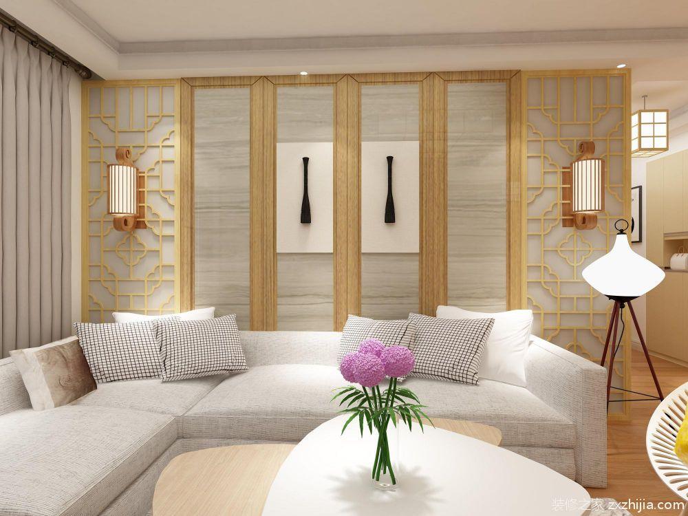背景墙:客厅背景墙的设计使用了枫木色系颜色和白色搭配