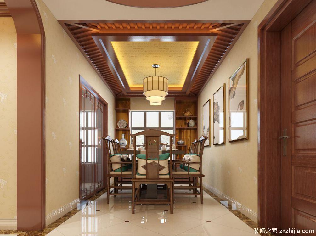 餐厅中式风格 采用具有代表性中式元素 例如月亮门,花格,中式