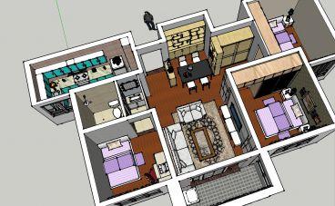 龙凤佳苑89平二室二厅现代简约装修效果图