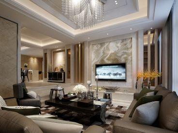 仁恒观棠218平五室三厅现代简约装修案例