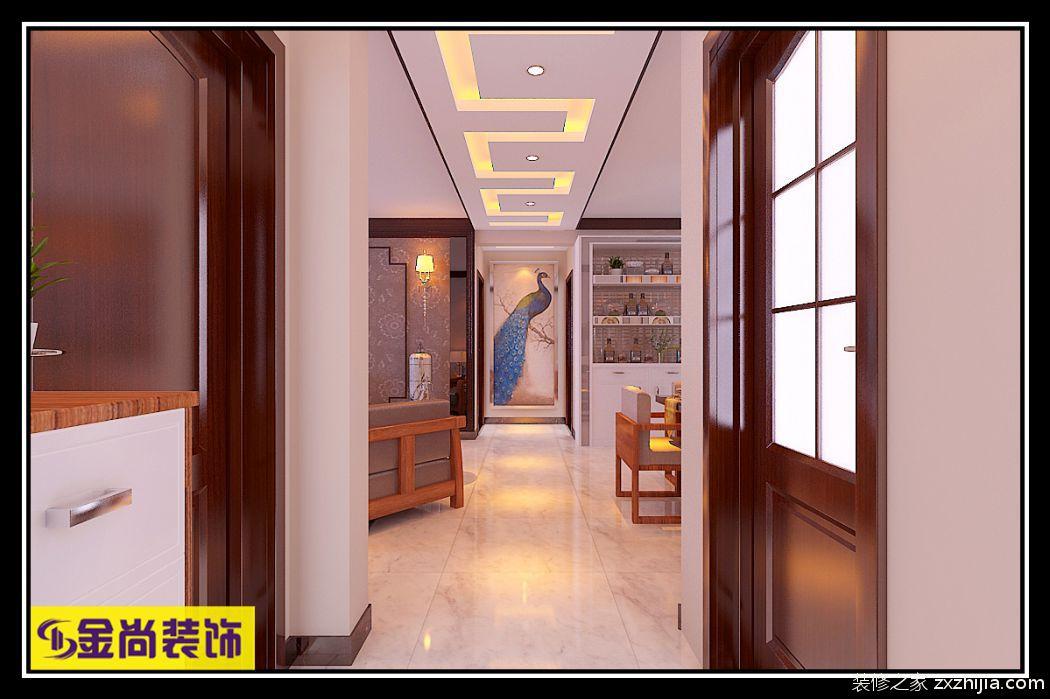 汉峪海风新中式廊道效果图