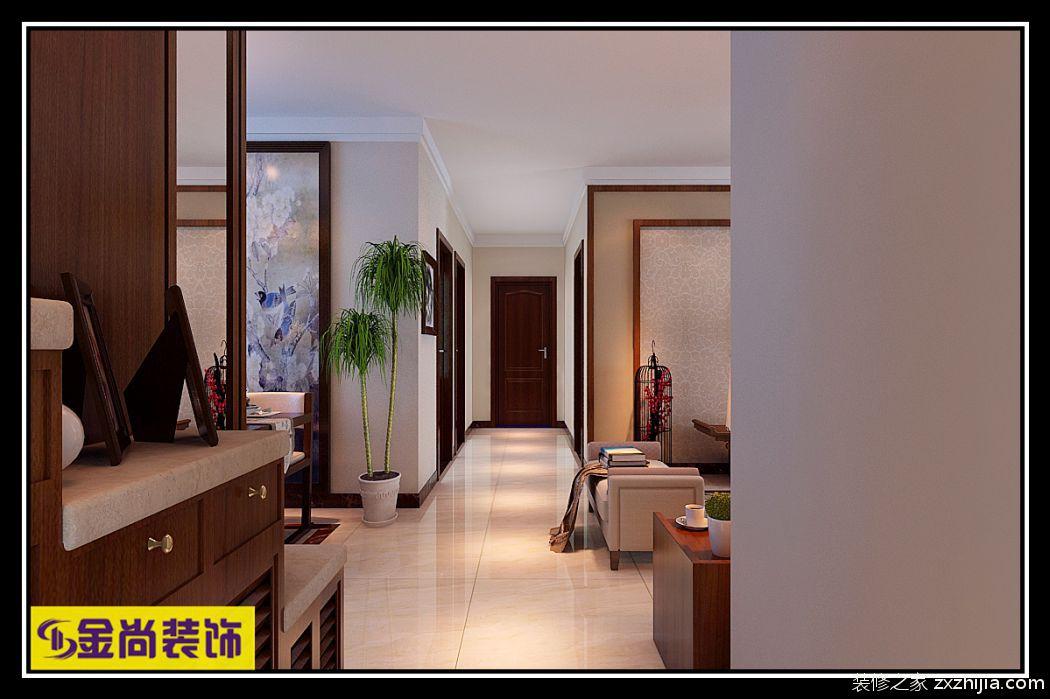 绿地香榭丽新中式廊道效果图