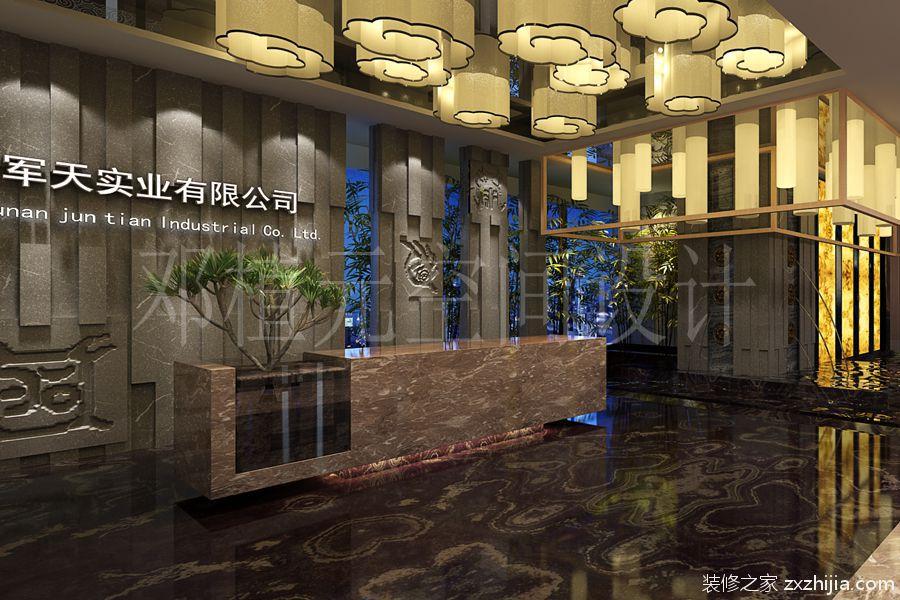 长沙万达广场A栋1300平新中式装修效果
