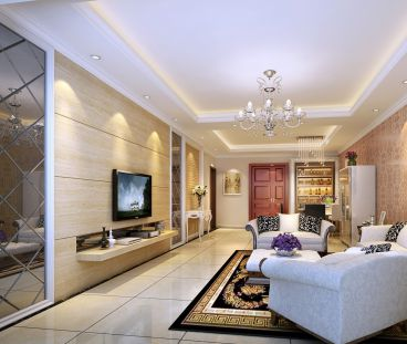 高尔夫花园100平二室一厅简欧装修效果图