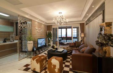 长沙香溢豪庭160平时尚混搭装修效果图