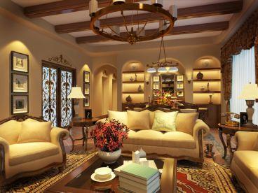 万科兰乔圣菲300平二室二厅美式装修案例