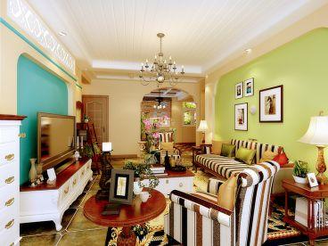 绿地香树花城140平三室一厅恬淡田园装修