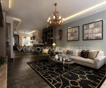 尚景新世界157平三室一厅美式装修效果图