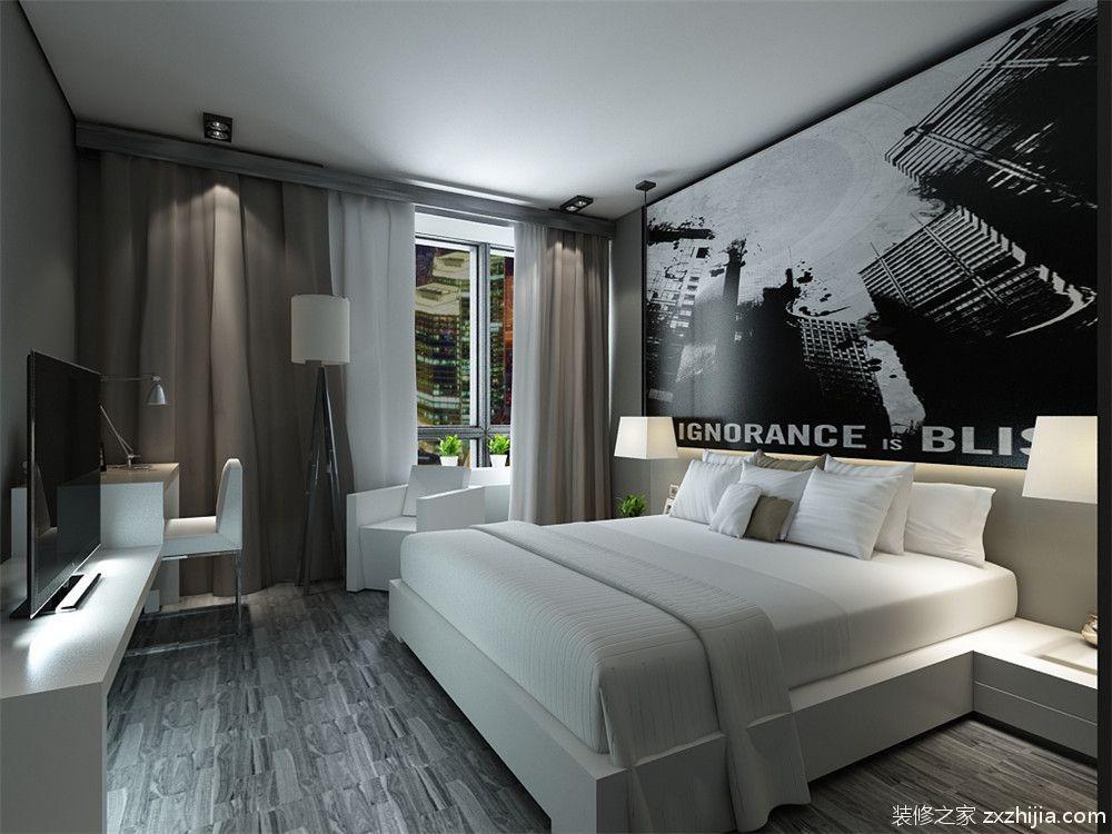免费获取户型设计 奥莱城现代简约卧室效果图 主卧室的床是白色,黑白